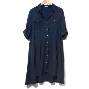 Anthropologie 4our Dreamers Button Up Blue Dress